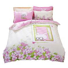 Mumgo Pink Cartoon and Flower Duvet Cover Set 100% Cotton, Queen Size, 4 Pieces //Price: $100.45 & FREE Shipping //     #bedding sets