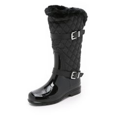 MICHAEL Michael Kors Fulton Quilted Mid Rain Boots ($110) ❤ liked on Polyvore featuring shoes, boots, black, faux fur lined boots, black shoes, faux fur lined rain boots, rubber sole boots and black wellington boots