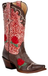 Tony Lama Vaquero Ladies Moka Brown w/Berry Floral Tooled Top Snip Toe Western Boot