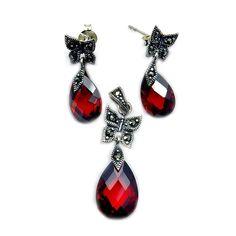 'Lovely Butterflies' Sterling Silver Red CZ, Marcasite Earrings  #NiceJewelry