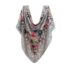 Buy Any 2 Scarf Get 1 For Free, large cotton Scarf, large square scarf, Summer Scarves, head scarf, Pattern Scarf, Flower Scarf, Shawl gray