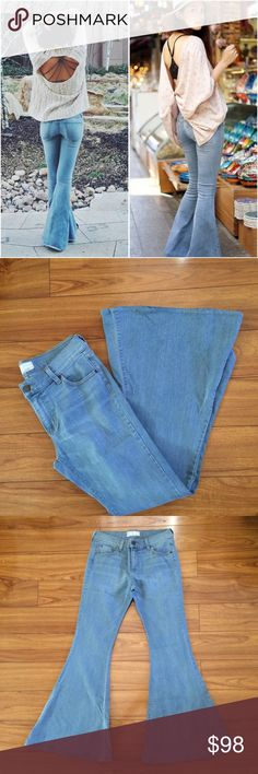 Free people wide leg flare bellbottom jeans Wide leg light wash jeans, very comfortable has stretch, size 31 free people jeans Free People Jeans Flare & Wide Leg
