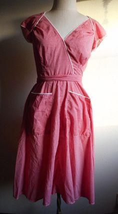 Vintage 50s women's red white checkered cotton apron sun dress wrap around jumper rockabilly