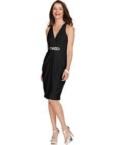 London Times Sleeveless Embellished Halter Dress