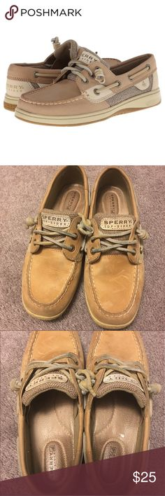 Sperry Top-Sider Women's Boat Shoes Adorable! Have only been worn a few times, all wear is pictured. They have tons of life left in them and might even be cleanable. Size 6.5 fit true to size. Very comfy for all day wear. Smoke-free home. Originally purchased at Journey's for over $100. Offers welcome. Sperry Top-Sider Shoes Flats & Loafers