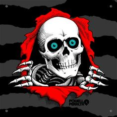 "About the Ripper Artwork: Arguably the most iconic skateboard graphic of all time, ""The Ripper"" was illustrated in 1983 by legendary Powell-Peralta artist V. Originally the graphic was used as a ""Bones Sold Here"" dealer window sticker. Skateboard Logo, Skateboard Companies, Skateboard Design, Old School Skateboards, Vintage Skateboards, Skate And Destroy, Halloween Mug, Funny Halloween, Skateboard Party"