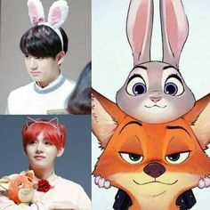 Jungkook as a bunny and Taehyung as a fox