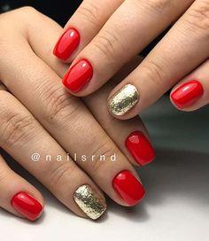21 Cute & Stylish Summer Nails: #20. BOLD RED AND GLITTER SUMMER NAILS; #summer; #nails; #summerstyle; #manicure; #nailart; #nailpolish; #naildesigns