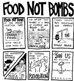 FOOD NOT BOMBS we believe that poverty is a form of violence and food is a right, not a privilege. Poverty And Hunger, Eat The Rich, Bee Free, World Hunger, Protest Posters, Anarchism, Food Security, Island Food, Food Industry