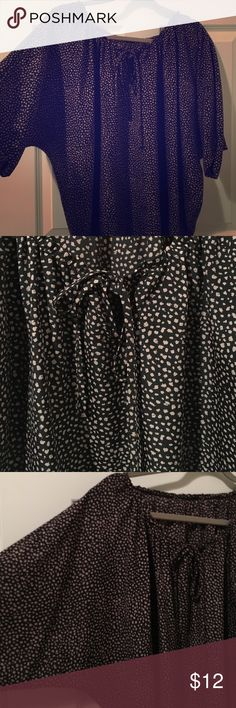 Ann Taylor LOFT Blouse - L - Super Cute Super cute Blouse. Really flattering on. It's black with brown dots. Size is large. I cut the tag out of the Blouse bc it would scratch my neck, but it's from the LOFT. LOFT Tops Blouses