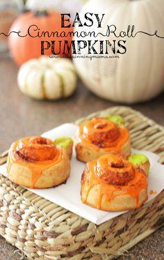 {Easy Fall Breakfast} Cinnamon Roll Pumpkins