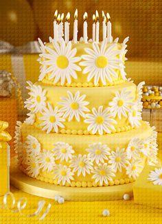 Yellow Cake with White Daisies.