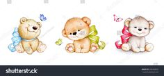 Set of 3 cute Teddy bears with bows