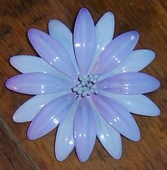 Vintage Purple Enamel Flower Pin