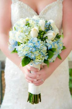 Blue hydrangea and roses.