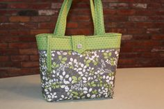 Custom Gray and Green Quilted Tote Bag by MavysTotes on Etsy, $50.00