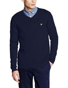 Shop Lyle & Scott Men's Merino Long Sleeve V-Neck Jumper. Lyle Scott, Mens Jumpers, Polo Ralph Lauren, Men Sweater, V Neck, Navy, Long Sleeve, Mens Tops