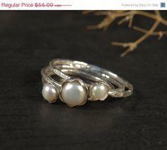Valentine SALE  Pearl engagement ring set of 3 by DvoraSchleffer, $46.75