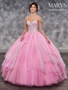 - Tulle sweetheart quinceanera ball gown features beaded bodice, beaded shoulder straps, back lace up closure, and tiered skirt with sweep train. Sweet 16 Dresses, 15 Dresses, Bridal Dresses, Fashion Dresses, Girls Dresses, Flower Girl Dresses, Chiffon Dresses, Bridesmaid Gowns, Fall Dresses