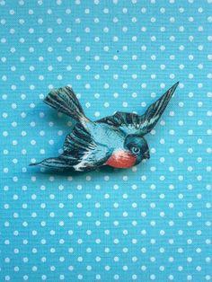 Vintage style Swallow Bluebird Brooch