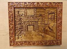 Log Cabin Decor ~ Log Home Christmas Scene ~ Wood Carving Wall Hanging ~ Wood Carving Wall Art ~ Wood wall art Indoor ~ Rustic Wall Art