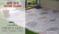 Express your style with custom, hand-cut resurfaced concrete. #decorativeconcretedesigns #concreteresurfacing