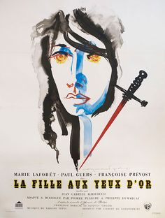French poster for THE GIRL WITH THE GOLDEN EYES (Jean Gabriel Albicocco, France, 1961) Designer: Raymond Gid (1905-2000) Poster Source: Posteritati Read all about Raymond Gid in Graphic Detail in the new edition of Film Comment.