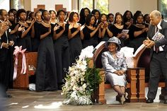 I love this photo! It is so celebratory. Happy belated 85th birthday to Christine King Farris, Spelman College  associate professor and sister of Martin Luther King, Jr.