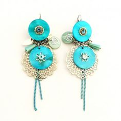 Boucles d'oreilles dormeuses bleues.  Création Ikita Paris - Bijoux Fantaisies. Collection PRINT / ETE 2017 Belly Button Rings, Creations, Boho, Sweet, Earrings, Inspiration, Collection, Jewelry, Design