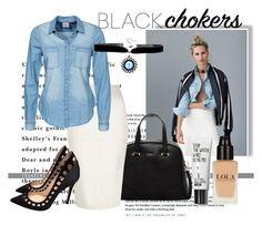 """Black Choker!"" by chrisfili ❤ liked on Polyvore featuring KAROLINA, Furla, River Island, Vero Moda, Gianvito Rossi and blackchokers"