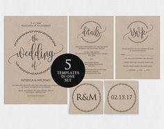 Rustic Wedding Invitation Template by weddingprintables on @creativemarket