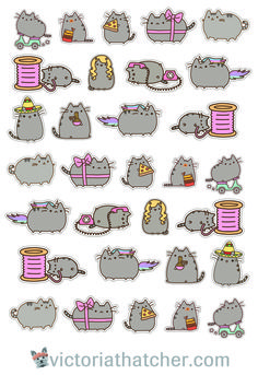 Free Printable Cricut Ready Pusheen Cat Planner Stickers from Victoria Thatcher