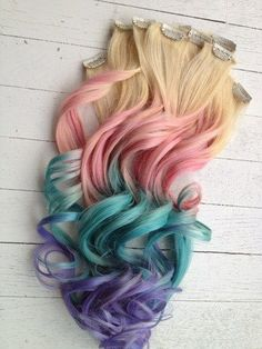 now I am NOT one for extensions of any sort but id be willing to try this for a festival or something fun!Pastel Tie Dye Hair/Blonde Ombre Extensions/Pastel Pink/Blue/Purple