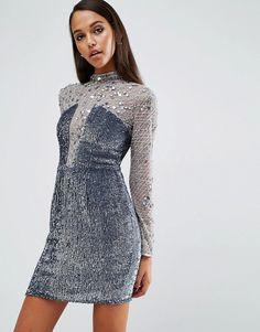 ASOS   ASOS NIGHT High Neck Embellished Mini Dress