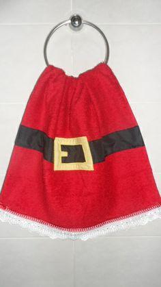 Toalha de lavabo personalizada com tema natalino. R$ 28,00