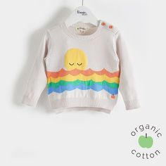 The Bonnie mob SS16 - The Life Aquatic.  CISCO Organic Cotton Rainbow Sweater/Jumper. Knitted sweater perfect for spring dressing, featuring a super cute snoozing sunset over stripey waves' intarsia design. The back hem is slightly longer than the front for a little bit of cover at the bottom, with button opening at shoulder on baby sizes for fuss free dressing.