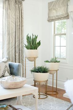 Add plant accents for a refreshed look in your living room. Plants also refreshes indoor air, so it's also healthier for you.