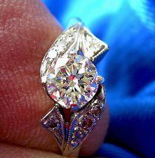 Deco European Diamond Platinum Engagement Ring Antique Vintage Solitaire