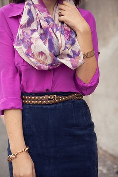 magenta, navy and belt