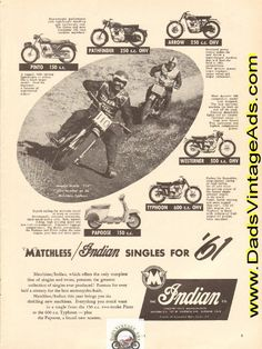 1961 Matchless / Indian Singles for Ad Vintage Indian Motorcycles, Motorcycle Posters, Arrow, Twins, Stamps, Presents, Collection, Seals, Gifts