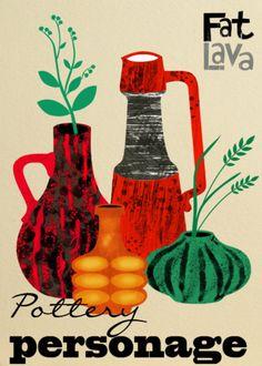 Vintage fat lava vases