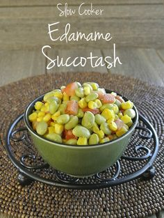 Slow Cooker Edamame Succotash to the rescue.  A delicious side dish that everybody can love and all you have to do is throw everything in the crockpot.