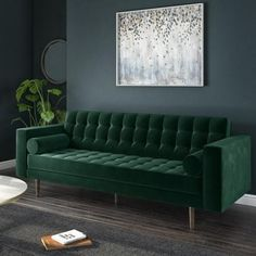 Buy Elba 3 Seater Green Velvet Sofa with Button Detailing & Bolster Cushions from - the UK's leading online furniture and bed store Living Room Green, Living Room Sofa, Living Room Decor, Dark Green Rooms, Room Color Schemes, Room Colors, Green Velvet Sofa, Velvet Sofa Bed, Sofa Bed With Storage