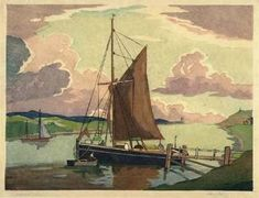 Morning Calm by Eric Slater (1930s) woodcut