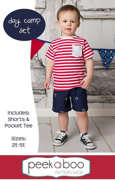 FREE toddler shorts & t-shirt pattern Talla anys Get ready for some fun time with the Day Camp Set! This FREE PDF Sewing pattern includes a pair of basic pull-on shorts and a t-shirt with an optional pocket This is a great beginner sewing project a T Shirt Sewing Pattern, Sewing Patterns Free, Free Sewing, Free Pattern, Shirt Patterns, Pants Pattern, Clothes Patterns, Dress Patterns, Sewing Kids Clothes