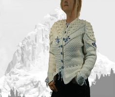 """Ladies cardigan with Austrian Inspiration """"Maligne Lake"""" cream with blue embroidery - the perfect companion for denim Cardigans For Women, Knits, Hand Knitting, Leather Skirt, Ruffle Blouse, Feminine, Pure Products, Embroidery"""