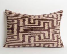 Silk Velvet Ikat Pillow Cover - Purple Ivory Modern Home Decor Pillow Ikat - Lumbar Pillow Cover - Throw Pillows - Living Room Decor