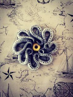 Evil-Eye Lovecraftian alien tentacle monster octopus pendant, dark fantasy, polymer clay