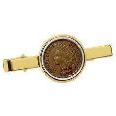 Global American Coin Treasures 1800's Indian Penny Goldtone Tie Clip