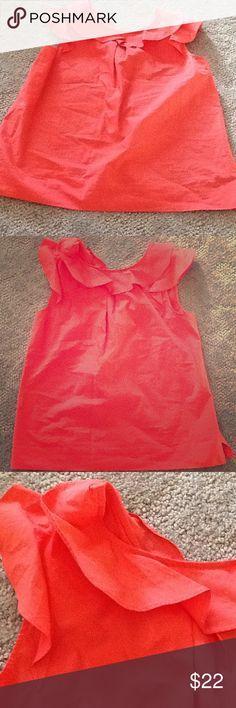 J. Crew Coral ruffle shirt size 2p NWT J. Crew Coral Ruffle shirt  *size 2p *NWT * regular price is $69 *all items from smoke free home J. Crew Tops Tees - Short Sleeve